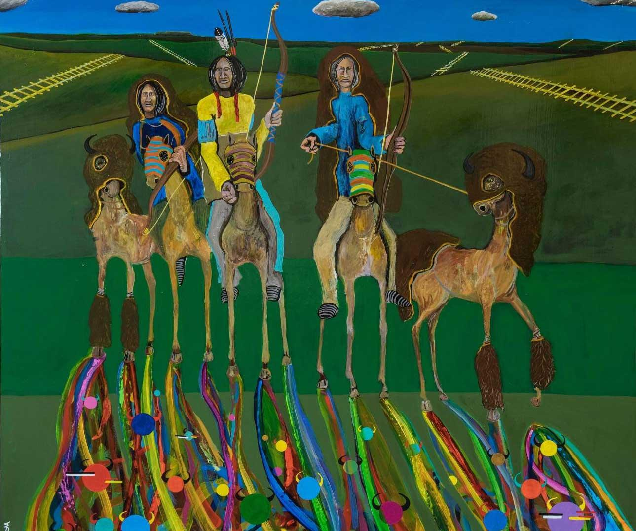 """Denton Fast Whirlwind's painting in """"Horse Nation"""""""