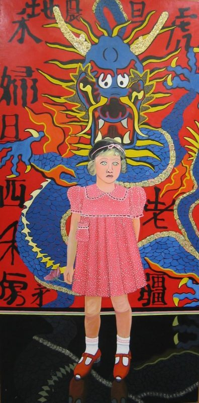 A painting of a young girl wearing a pink dress and black hat standing in front of a wall. The wall shows a blue and yellow dragon, and a red background with Chinese characters.
