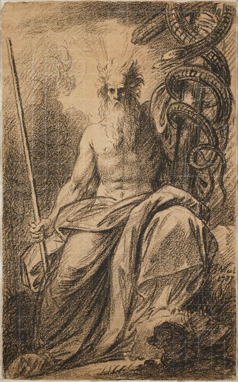 A sketch of the prophet Moses holding a pole with a snake.