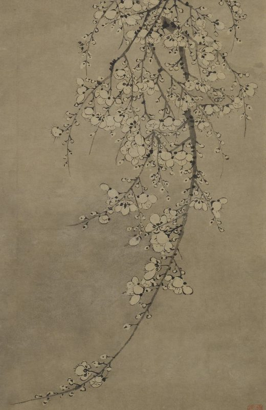 A painting of a hanging branch filled with white blossoms.