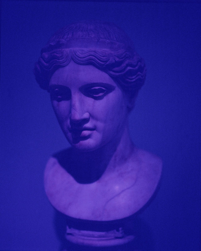 A photograph of a bust of a Roman woman's head with a heavy purple filter.