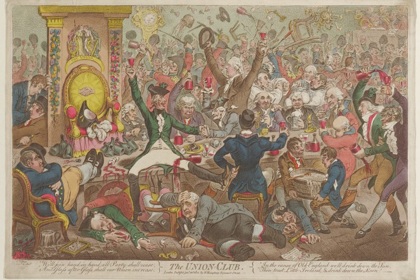 A hand colored etching of huge mass of people drinking large amount of wine and whiskey punch. Many people are standing on a long table, and others are lying underneath it. A clock on the left side reads 3:00am.