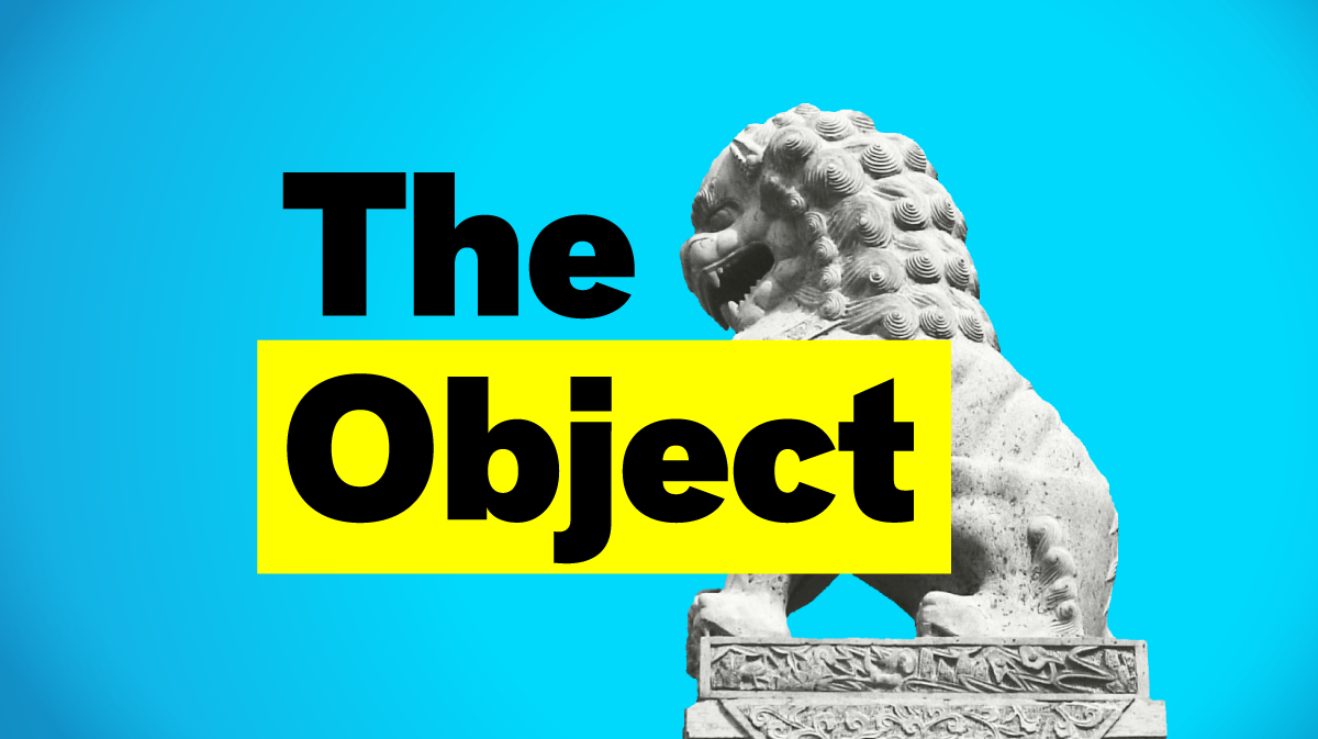 """A bright blue background and a lion statue with the words """"The Object"""" in thick black letters over top."""