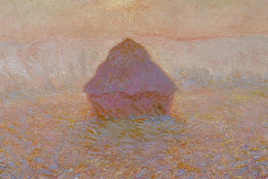 A painting of a haystack in a field.