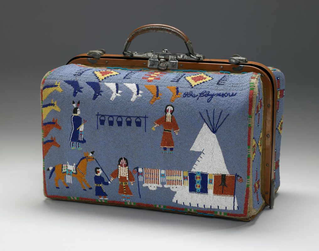 A beaded suitcase made by Nellie Two Bear Gates sometime between 1880 and 1910.