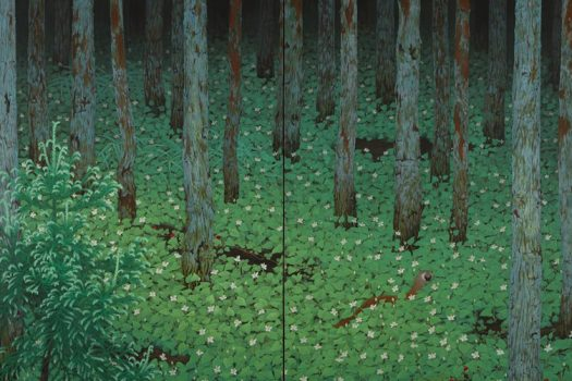 Lush green forest depicted on two screens.