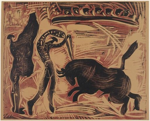 A black, red, and tan linocut of a man stabbing a bull that is charing towards him.