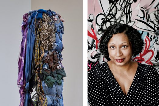 On the left is a tall, thin bundle of various cloths tied together including tie dye, jeans, and cheetah print. On the right is Shinique Smith
