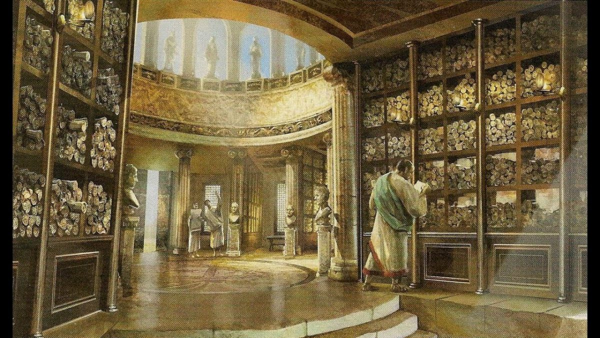 A man stands in a library filled with scrolls.