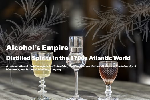 cover of the digital publication Alcohol's Empire featuring three glass drinking vessels