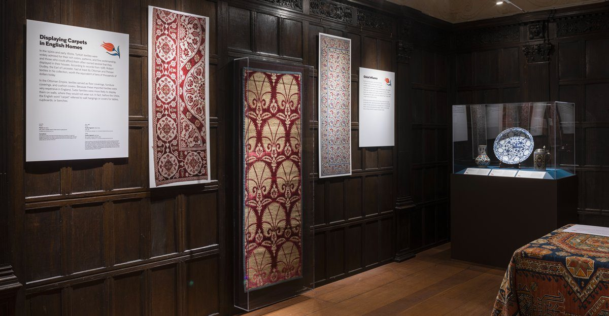 Ottoman textiles hang on the walls of the Tudor Room at Mia as part of a new installation.