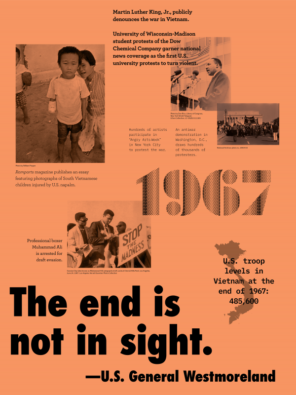 """Year:1967 Quote/headlines: """"The end is not in sight"""" -U.S. General Westmoreland Event:Martin Luther King is giving a speech Image description: Martin Luthe King, Jr., publicly denounce the war in Vietnam. University of Wisconsin-Madison student protests of the Dow Chemical Company garner national news coverage as the first U.S. university protests to turn violent. Event: Injured Vietnamese boys Image description: Ramparts magazine publishes an essay featuring photographs of South Vietnamese children injured by U.S. napalm. Event: Washington protest Image description: An antiwar demonstration in Washington D.C., draws hundreds of thousands of protesters. Event: Muhammad Ali signing papers Image description: Professional boxer Muhammad Ali is arrested for draft evasion. Event: Vietnam map: Image description: U.S. troop levels in Vietnam at the end of 1967: 485,600"""