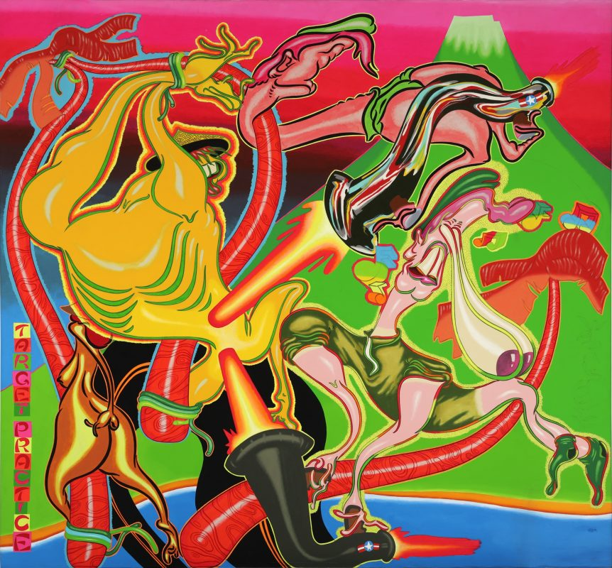Peter Saul, Target Practice, 1968, acrylic on canvas, Hirshhorn Museum and Sculpture Garden, Smithsonian Institution, Joseph H. Hirshhorn Purchase Fund, 2016. © Peter Saul, Photo courtesy Hirshhorn Museum and Sculpture Garden by Cathy Carver.