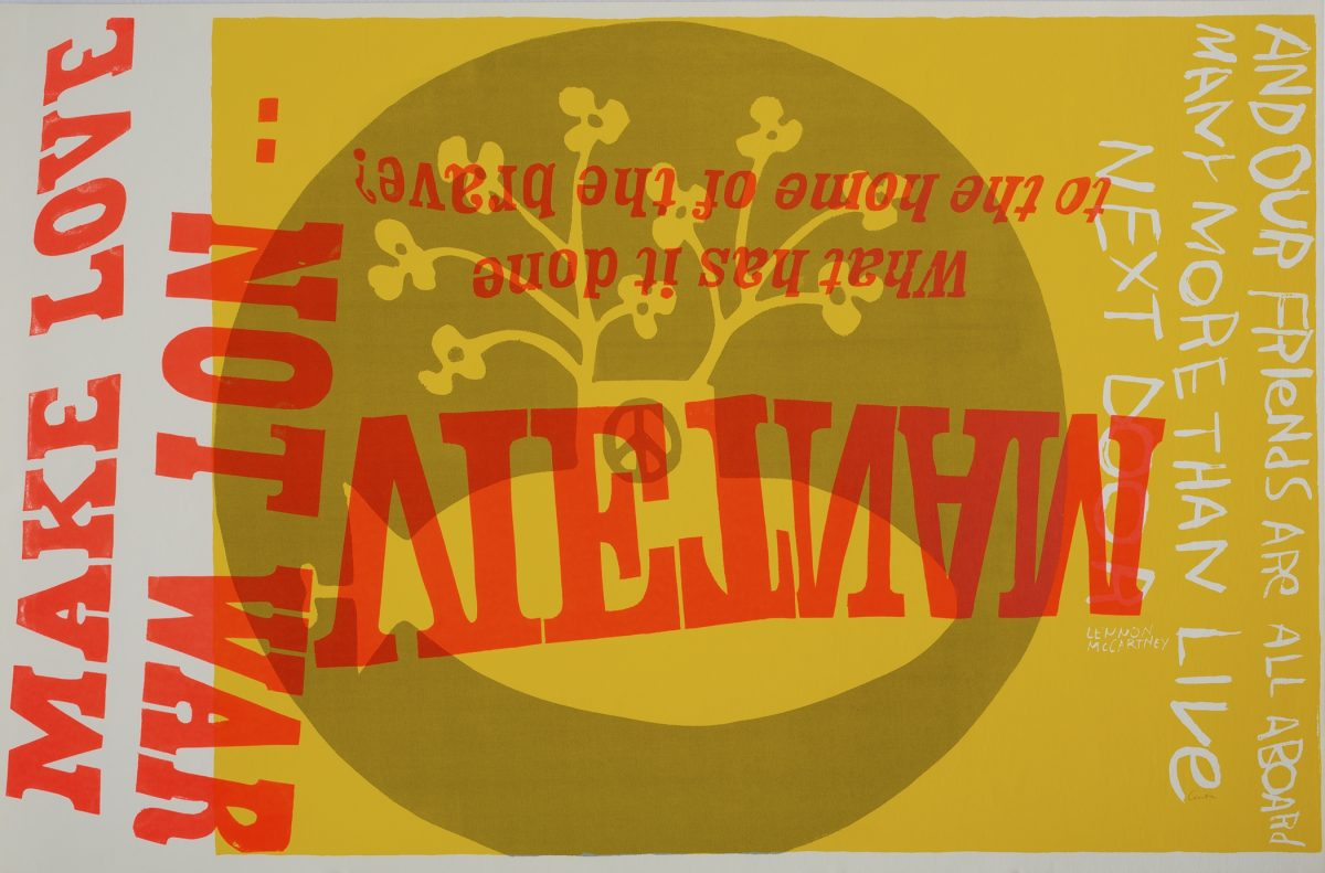 Corita Kent, yellow submarine, 1967, screenprint, Corita Art Center, Immaculate Heart Community, Los Angeles, CA. © Corita Art Center, Immaculate Heart Community, Los Angeles, Photo by Arthur Evans.