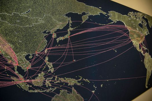 """Tiffany Chung's Reconstructing an exodus history: flight routes from camps and ODP cases, on display in """"Artists Reflect: Contemporary Views of the American War."""""""