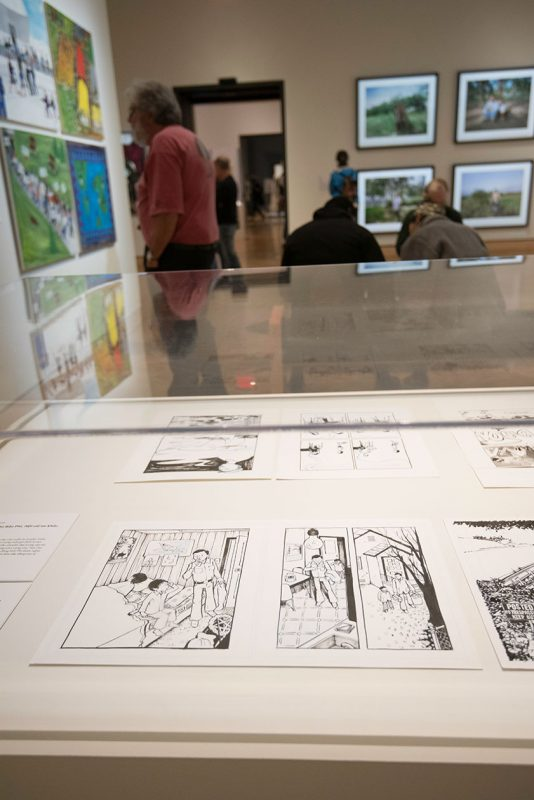 """Art from Thi Bui's graphic novel """"The Best We Could Do,"""" in the exhibition """"Artists Reflect: Contemporary Views of the American War."""""""