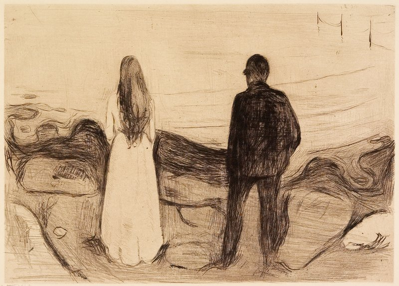 Two Human Beings, The Lonely Ones, 1894, by Edvard Munch.