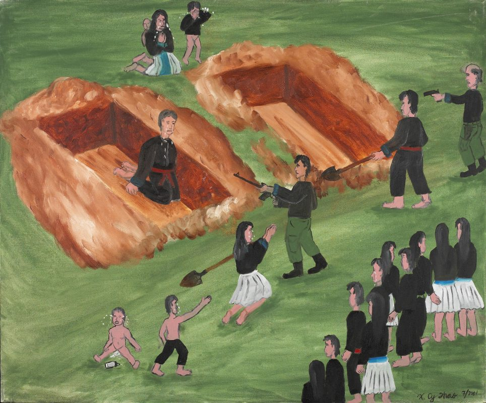 "An image from ""The Hmong Migration,"" depicting the murder of Thao's uncles."