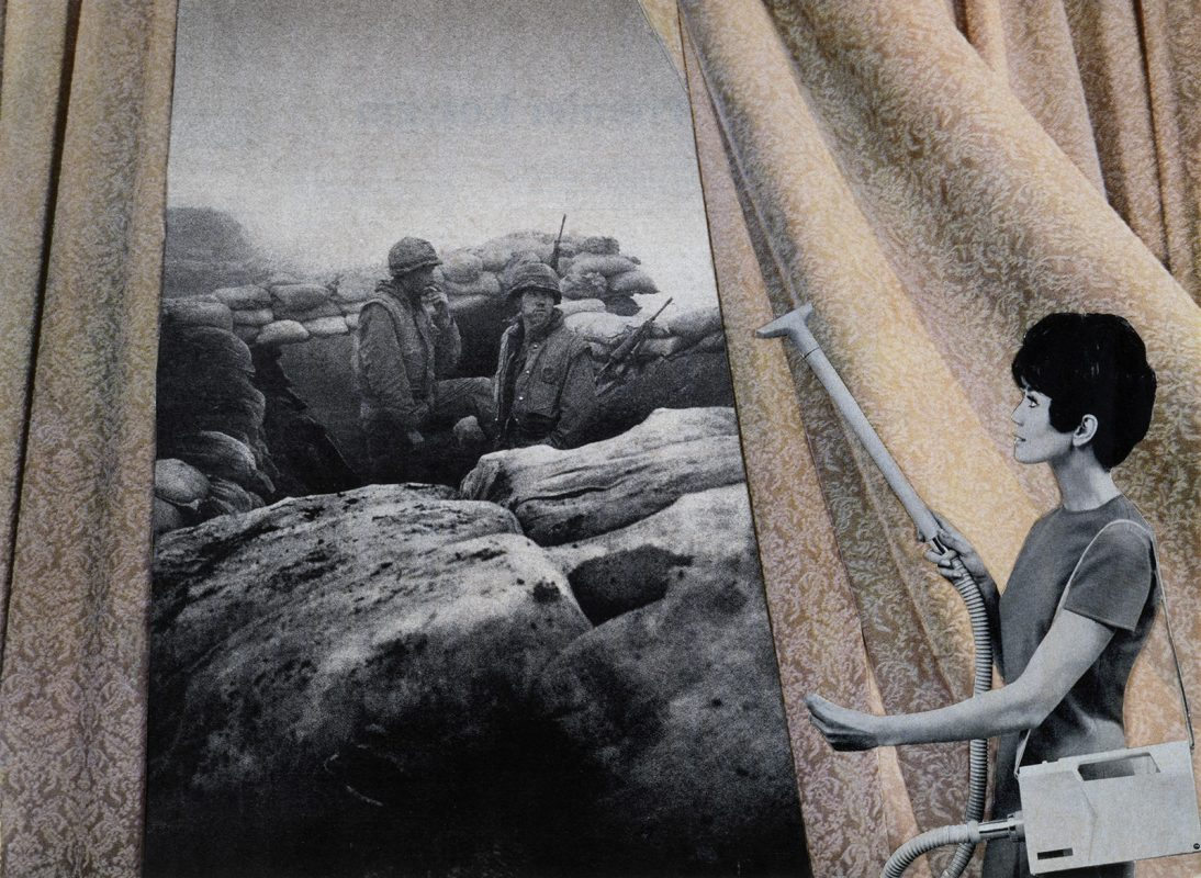Martha Rosler's collage of a woman cleaning the drapes with soldiers outside.