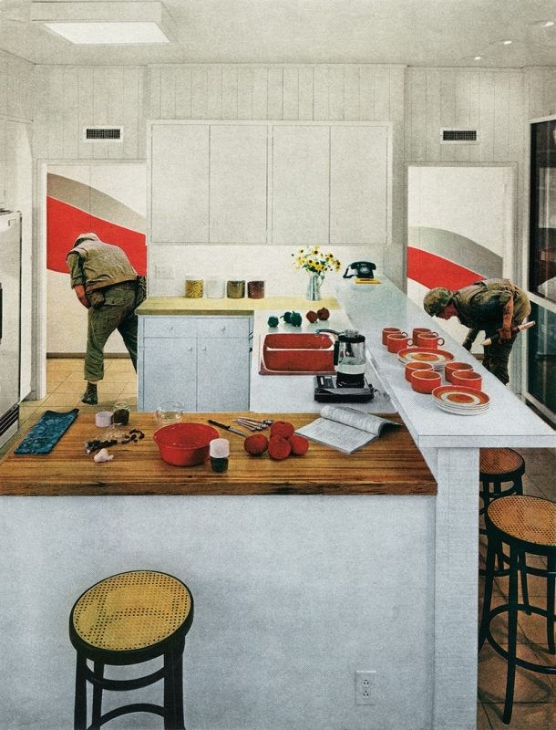 "Martha Rosler's ""Red Stripe Kitchen"" image from the House Beautiful: Bringing the War Home"" series."