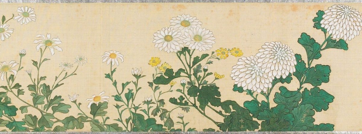 "This is a painting titled ""Flowers of the Season"" painted by an unknown artist from 19th century Japan. It shows white and yellow daisies and white chrysanthemums."