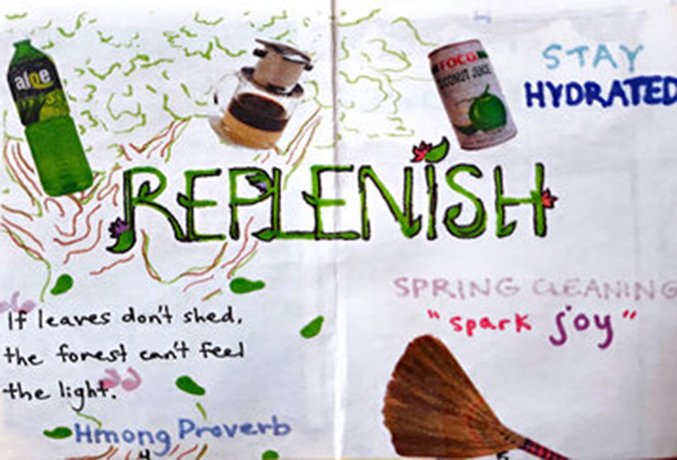 Image of a zine drawing that shows the word replenish in big font.