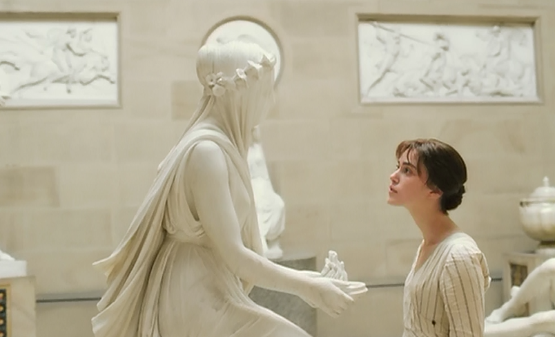 "Keira Knightley admires Raffaelle Monti's Veiled Vestal Virgin, in the 2005 film ""Pride and Prejudice."""