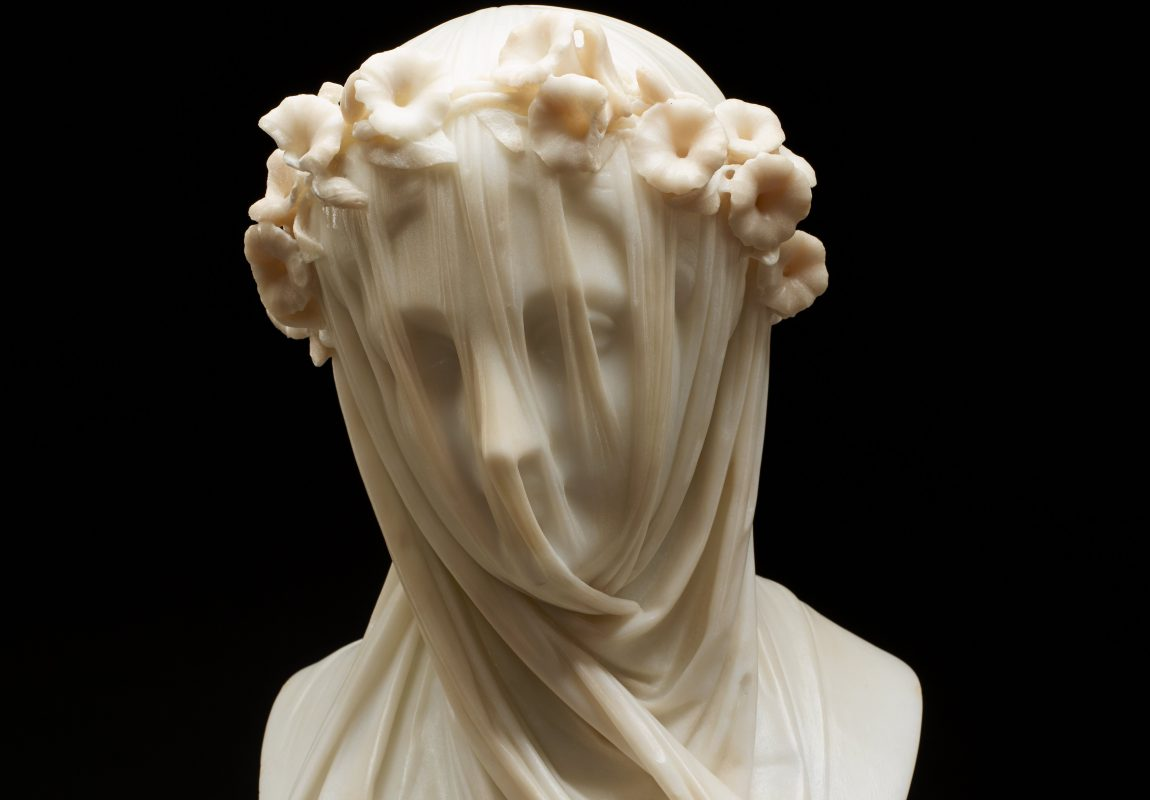 Close-up view of Raffaelle Monti's veiled lady sculpture.
