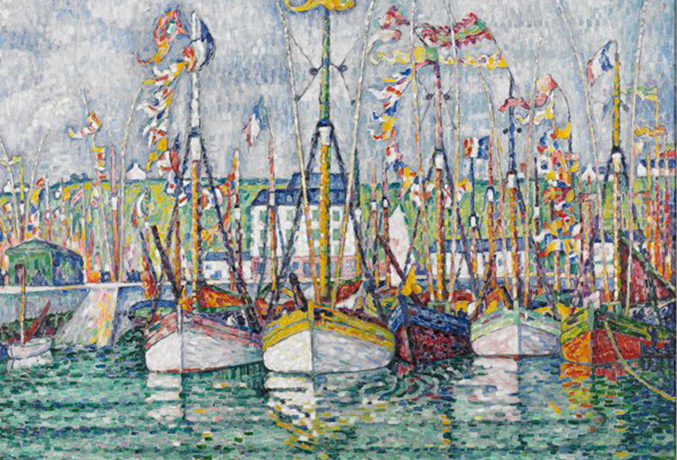 textured painting of sailboats done with a palette of mainly primary colors