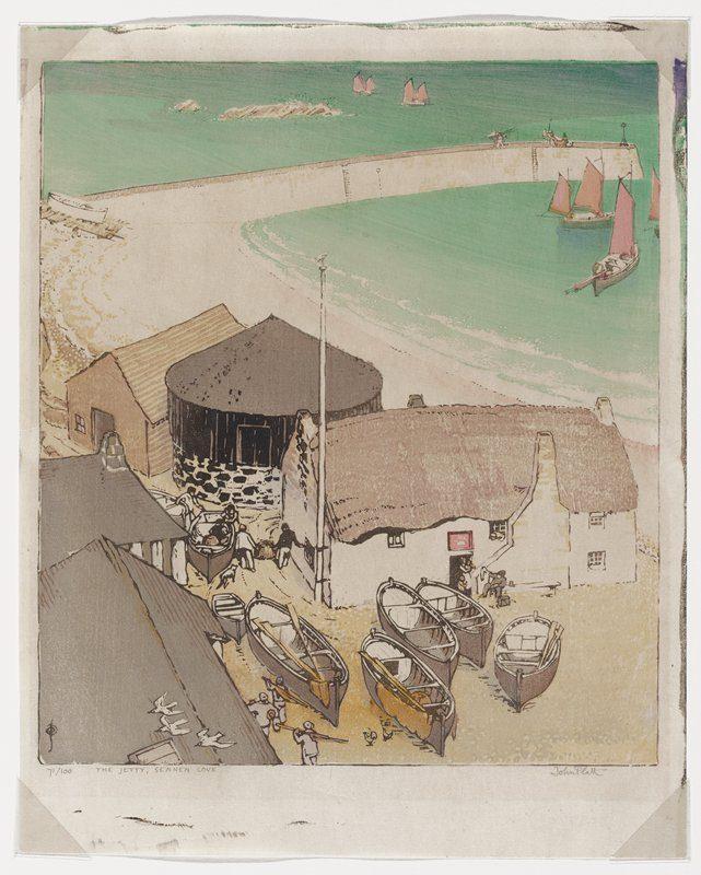 Print of a beach in England called Sennen Cove.