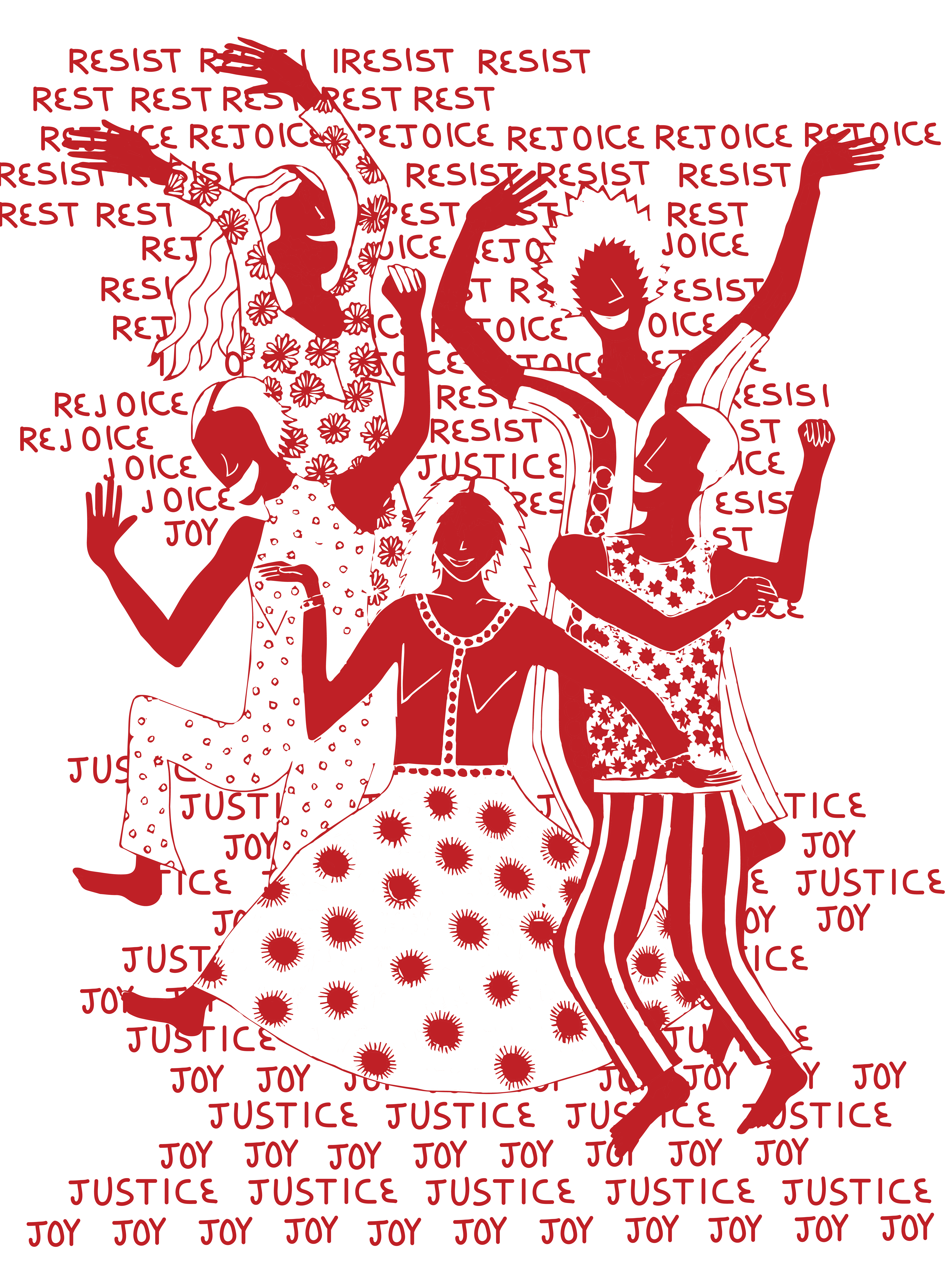 image description: five figures dance with smiles on their faces and patterned clothing. They are dancing in front of repeating text that reads resist, rest, rejoice, justice, joy.