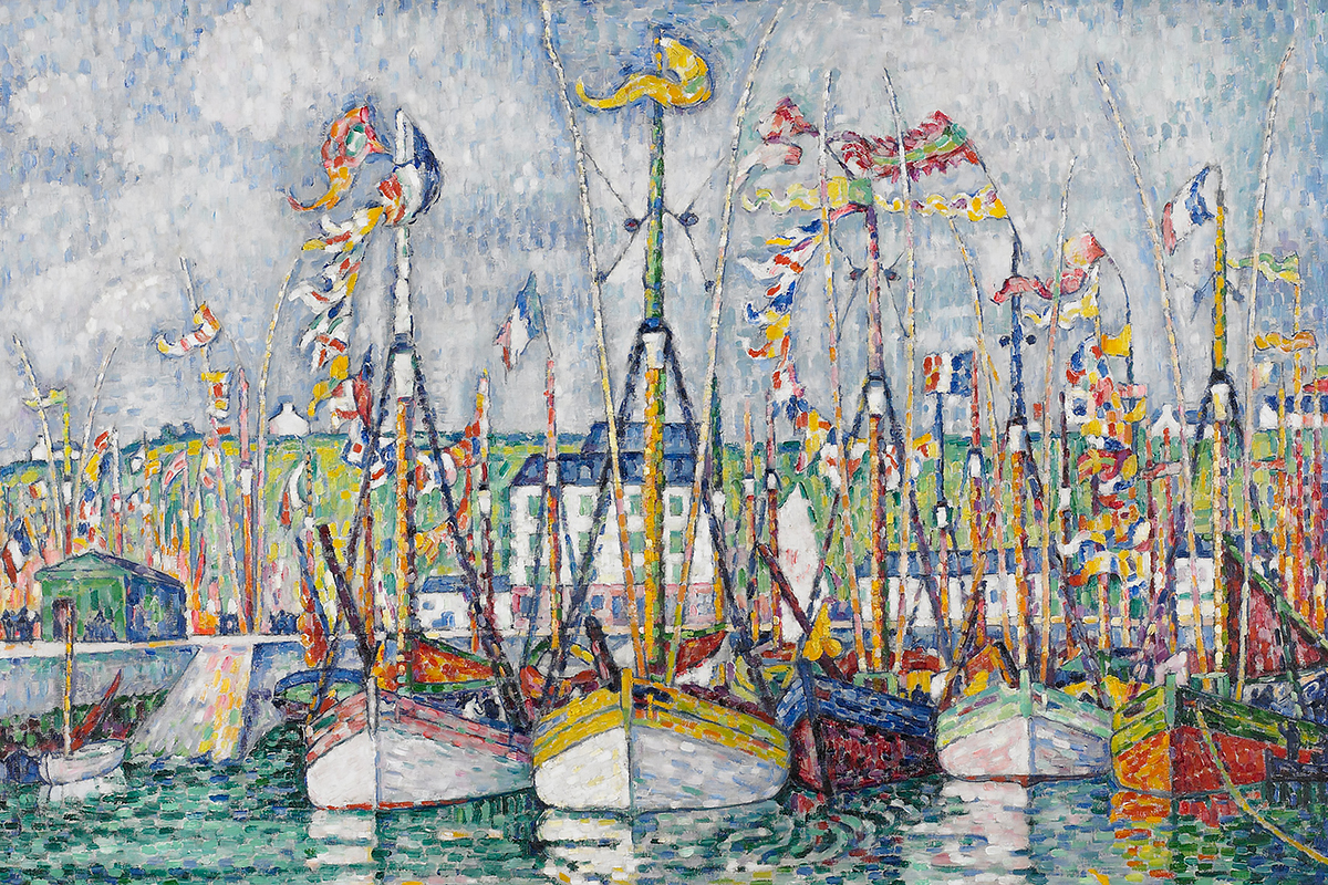 A group of sail boats brightly painted sit floating in the water with their bow's facing us. The wind is blowing all the flags to the left side of the painting creating an exited and lively motif.