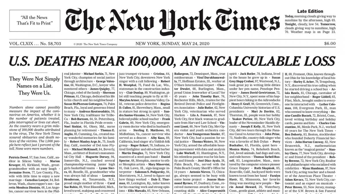 Front page of New York Times listing victims of Covid-19.